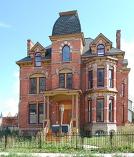 Historic restoration of the Lucien Moore House (1885), in Brush Park, completed in 2006[104]