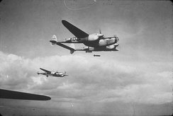 1943: Three P-38 Lightnings, AAF Ser. No. 42-68184 and two comrades, of the 495th Fighter Training Group in flight.