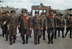 Bernard Montgomery and Soviet Marshals Zhukov and Rokossovsky leave the Brandenburg Gate on 12 July 1945 after being decorated by Montgomery