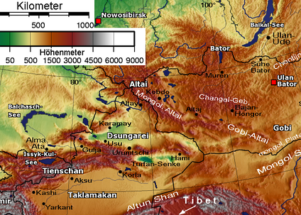 Physical map showing the separation of Dzungaria and the Tarim Basin (Taklamakan) by the Tien Shan Mountains
