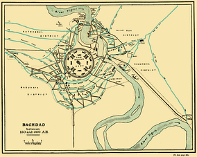 The city of Baghdad between 767 and 912 AD. The round plan reflects pre-Islamic Persian urban design.[12]