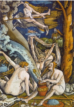 Hans Baldung Grien, Witches, woodcut, 1508. Mussorgsky's Night on Bald Mountain was meant to evoke a witches' sabbath.