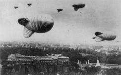 Barrage balloons flying over central London
