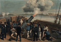 Bombardment of Bomarsund during the Crimean War, after William Simpson