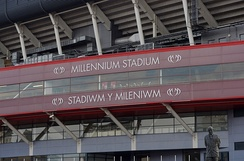 The stadium's previous branding on the exterior of the BT Stand