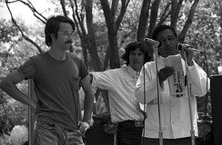 Chavez speaking at a 1974 United Farm Workers rally in Delano, California.