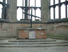 A wooden cross at Coventry Cathedral, constructed of the remnants of beams found after the Coventry Blitz