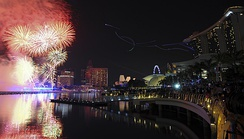 A midnight fireworks show in Marina Bay, Singapore, welcoming 2012.