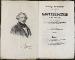 Title pages of Daguerre's 1839 manual, published soon after Arago's lecture to meet the intense public demand for more information about the process.