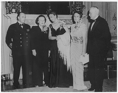 Eleanor Roosevelt and the Crown Prince and Crown Princess of Norway with Princess Juliana and Thomas Watson