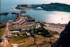 Sea filled slate quarries on Seil (foreground) and Easdale in the Slate Islands