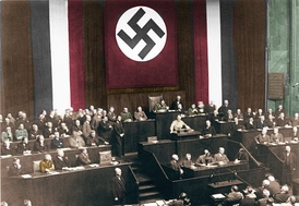 Hitler's Reichstag speech promoting the bill was delivered at the Kroll Opera House, following the Reichstag fire.