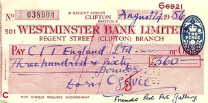 "An English cheque from 1956 having a bank clerk's red mark verifying the signature, a two-pence stamp duty, and holes punched by hand to cancel it. This is a ""crossed cheque"" disallowing transfer of payment to another account. The cheque paid £360 for 20(!!) or so English ""Friends of the Bristol Art Gallery"" to visit Italy."