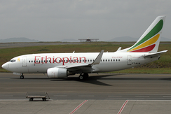 Ethiopian Airlines Boeing 737-700 on the Bole International Airport taxiway