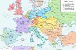Europe in 1867, after the forming of the North German Confederation, the Italian unification (with the exception of the Roman part of the Papal States) and the Austro-Hungarian Compromise.