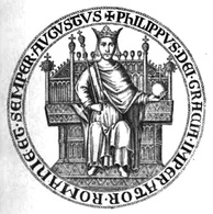 "Seal of Philip of Courtenay, Latin Emperor in exile 1273–1283. His title in the seal is Dei gratia imperator Romaniae et semper augustus (""By the Grace of God, Emperor of Romania, ever august"")."