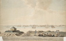 A 1790 watercolor showing Fort Saint-Jean in the background, and HMS Royal Savage in the foreground