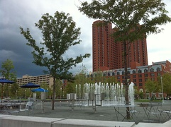 Fountain near visitor center in Inner Harbor