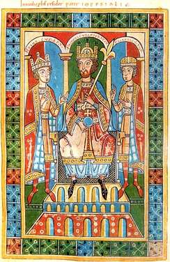 Frederick Barbarossa, middle, flanked by two of his children, King Henry VI (left) and Duke Frederick VI (right). From the Historia Welforum.