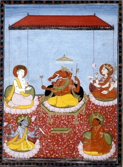 "A Ganesha-centric Panchayatana (""five deities"", from the Smarta tradition): Ganesha (centre) with Shiva (top left), Parvati (top right), Vishnu (bottom left) and Surya (bottom right). All these deities also have separate sects dedicated to them."