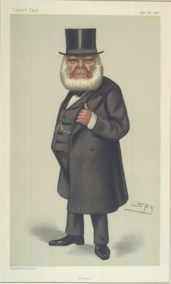 """Peace"". Caricature of Henry Richard, a prominent advocate of pacifism in the mid-19th century."
