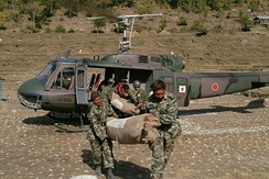 A JGSDF Bell-Fuji UH-1H conducting Kashmir earthquake relief activities (2005)