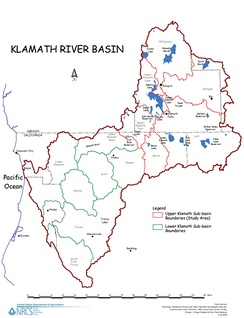 Map of Klamath River watershed showing subwatershed boundaries