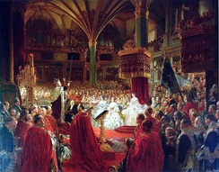 Coronation of William I as King of Prussia at Königsberg Castle in 1861