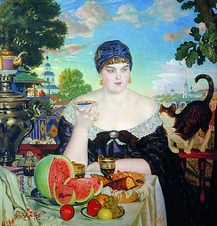 The Merchant's Wife by Boris Kustodiev, showcasing the Russian tea culture