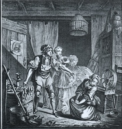 A scene from Le diable à quatre with text by Michel-Jean Sedaine