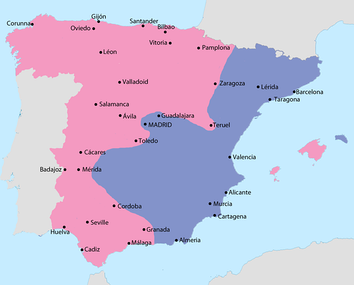 Map showing Spain in October 1937:  Area under Nationalist control  Area under Republican control