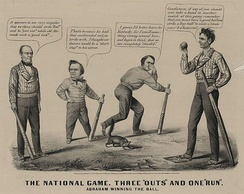 Louis Maurer cartoon depicting the 1860 presidential election as a baseball game; L to R: Bell, Douglas, Breckinridge, and Lincoln