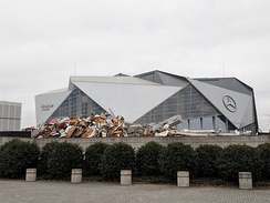The remains of Georgia Dome with the Mercedes-Benz Stadium in the background.