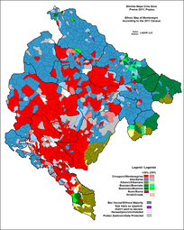 Predominant ethnic group in each municipality of Montenegro, 2011