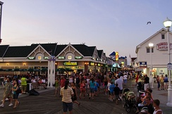 A view of the Ocean City boardwalk at twilight looking north.
