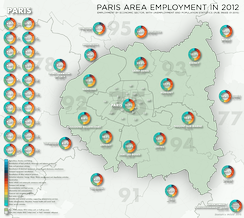 Employment by economic sector in the Paris area (petite couronne), with population and unemployment figures (2012)