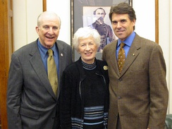 Sam and Shirley Johnson with Governor Rick Perry in 2003