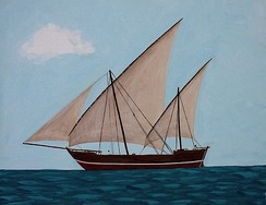 A Caravel with two lateen sail rigs and a headsail. Caravels were invented by the Portuguese, they had more manoeuvrability and were essential to the Age of Discovery.