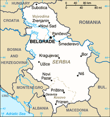 US Central Intelligence Agency map of Serbia as of June 2006, including the autonomous provinces of Vojvodina (north) and Kosovo (south)