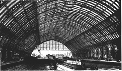 The interior of the Barlow train shed, circa 1870