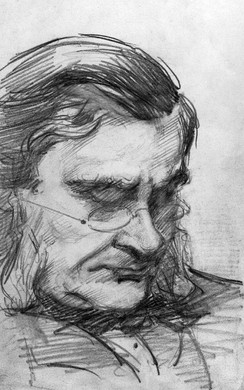 Pencil drawing of Huxley by his daughter, Marian