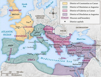Map of the Roman Empire under the Tetrarchy, showing the dioceses and the four Tetrarchs' zones of control.