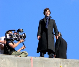 Filming an episode of BBC One's Sherlock (with Benedict Cumberbatch as Sherlock Holmes pictured) in July 2011