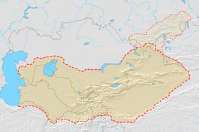 Map of Turkestan with modern state borders. The area covers a large number of countries including: Russia (Tatarstan and parts of Siberia), Mongolia, the Chinese autonomous province of Xinjiang (also known as East Turkestan or Chinese Turkestan), Kazakhstan, Turkmenistan, Tajikistan, Uzbekistan, Kyrgyzstan, and parts of Afghanistan.