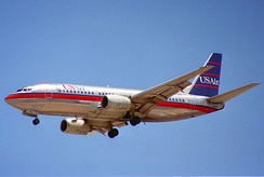 737-300 with wider CFM56 turbofans, introduced by USAir on November 28, 1984.