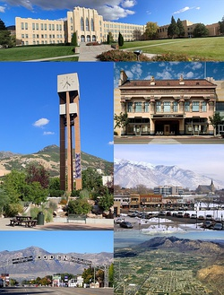 From top left to bottom right: Ogden High School, Weber State University Bell Tower, Peery's Egyptian Theater, Downtown, Gantry Sign, aerial view