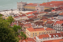 View from the São Jorge Castle, including the Praça do Comércio on the waterfront