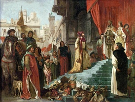 The return of Christopher Columbus; his audience before King Ferdinand and Queen Isabella, painting by Eugène Delacroix