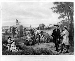 This 19th-century engraving is a depiction of Washington supervising his slaves at Mount Vernon.