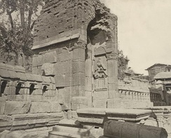 Gateway of enclosure, (once a Hindu temple) of Zein-ul-ab-ud-din's Tomb, in Srinagar. Probable date 400 to 500 CE, 1868. John Burke. Oriental and India Office Collection. British Library.